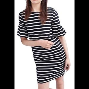 J crew black and white stripe size m dress ruffle